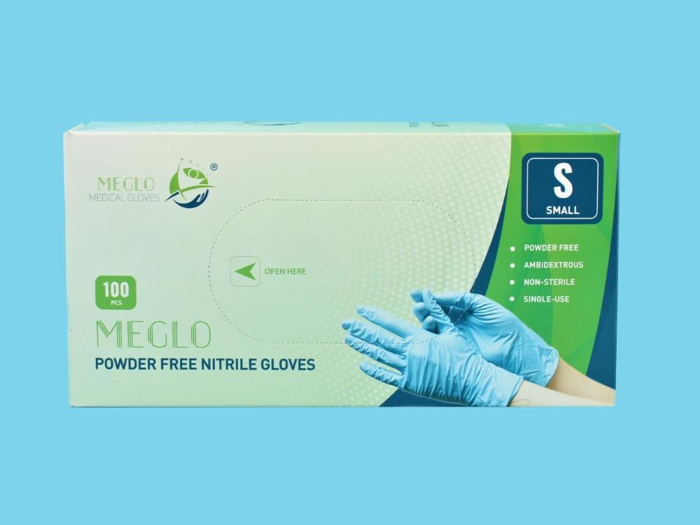 Handschoen nitril poedervrij blauw maat S, 100st
