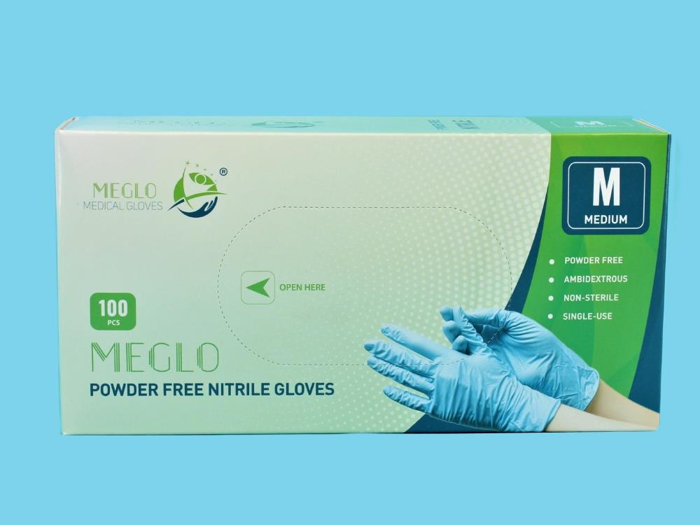 Handschoen nitril poedervrij blauw maat M, 100st