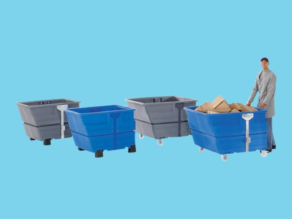 Kiepbak PE 0,8m³ blauw verrijdbaar