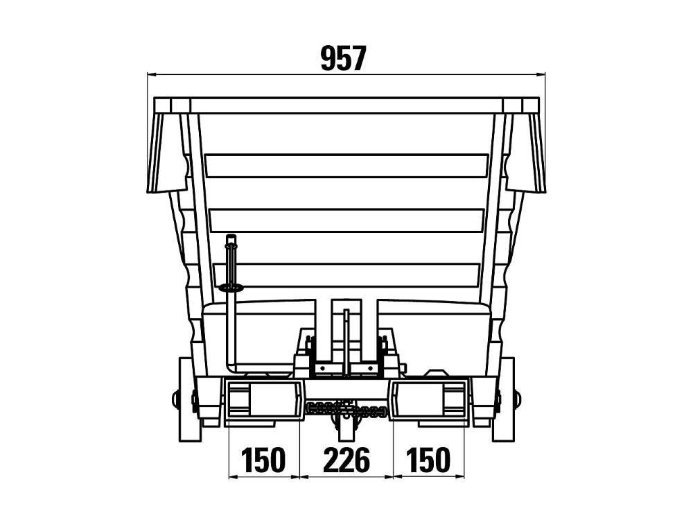 Kiepbak PE 1m³ grijs verrijdbaar met vorkkokers