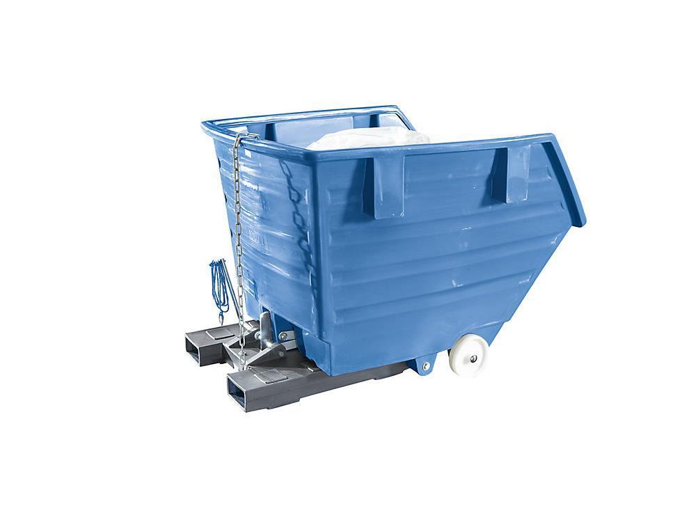 Kiepbak PE 0,3m³ blauw verrijdbaar met vorkkokers