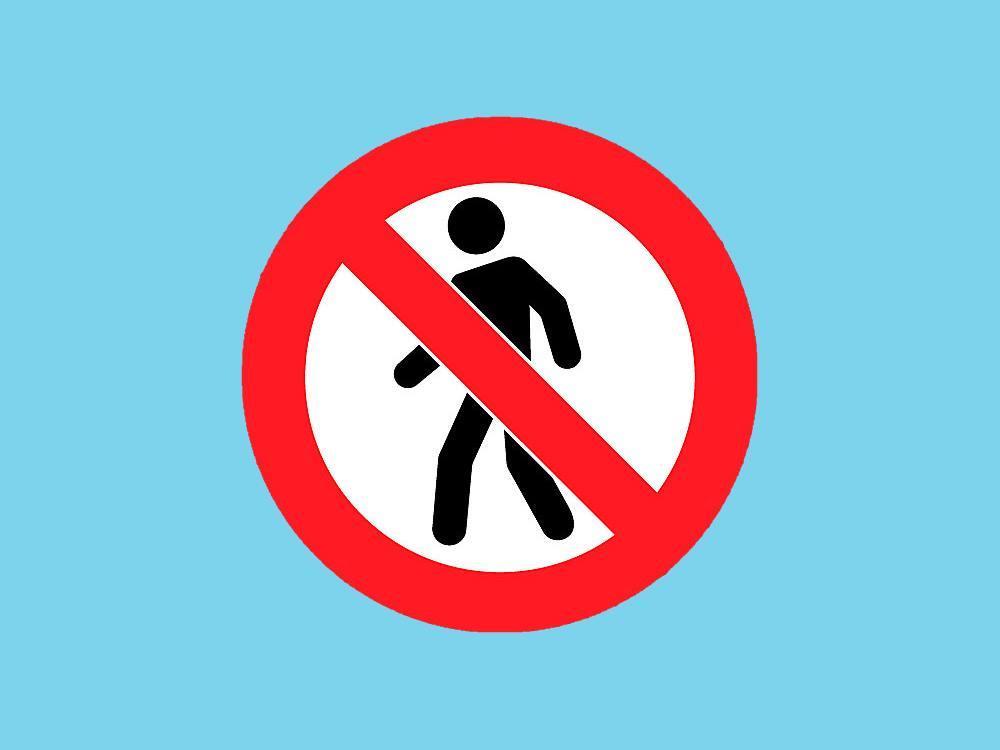 Pictogram zelfklevend 2 stuks voetgangers verboden
