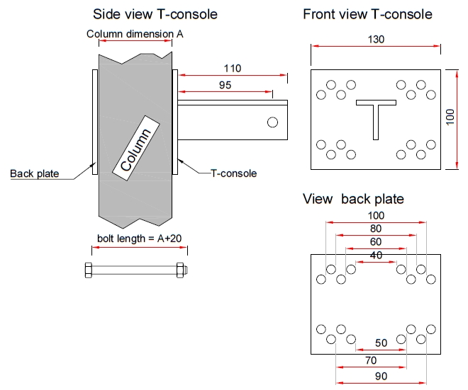T-console voor poot 40  mm - Complete set