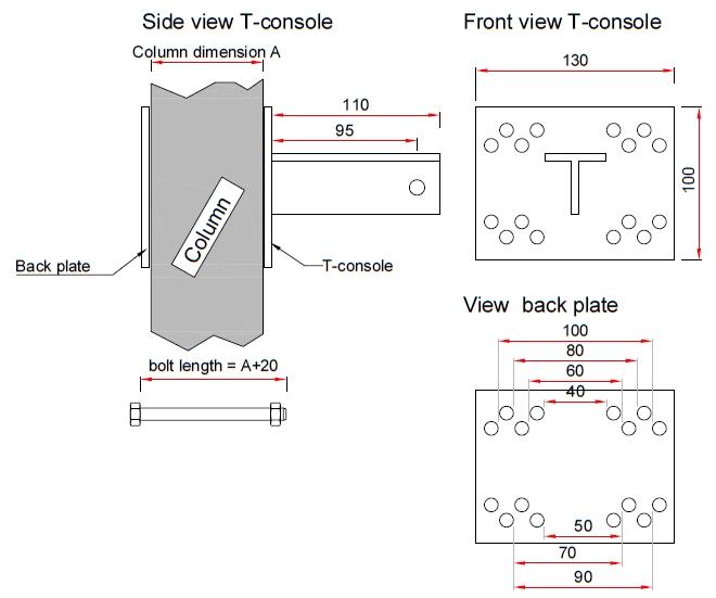 T-console voor poot 90 mm - Complete set