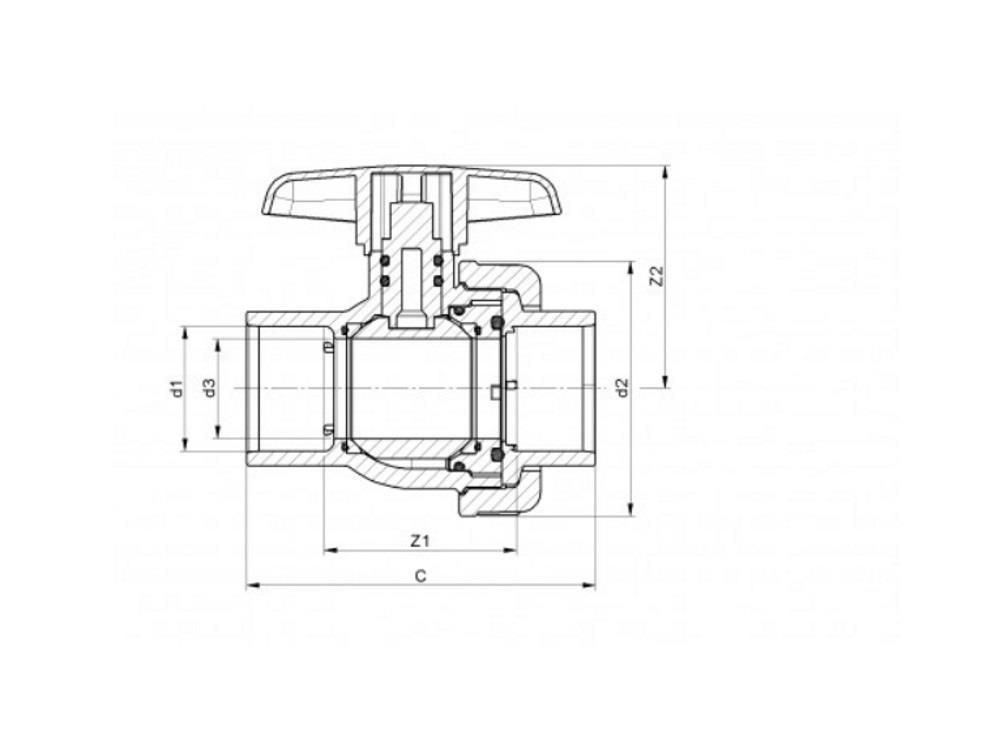 Kogelkraan type: eil 25x25mm viton® dn20 pvc