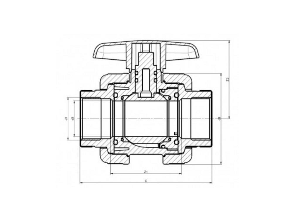 Kogelkraan type: dil 3/4 x 3/4 lijm dn20 pvc