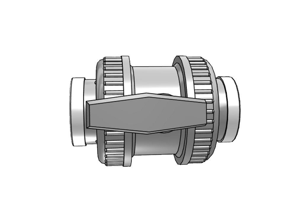 Kogelkraan type: dil 1 1/4 x 1 1/4 dn32 pvc