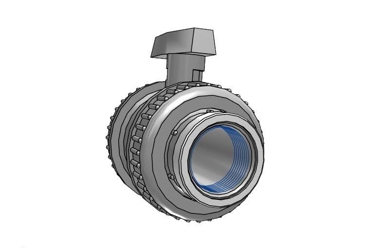 Kogelkraan type: dil 75x75mm dn65 pvc