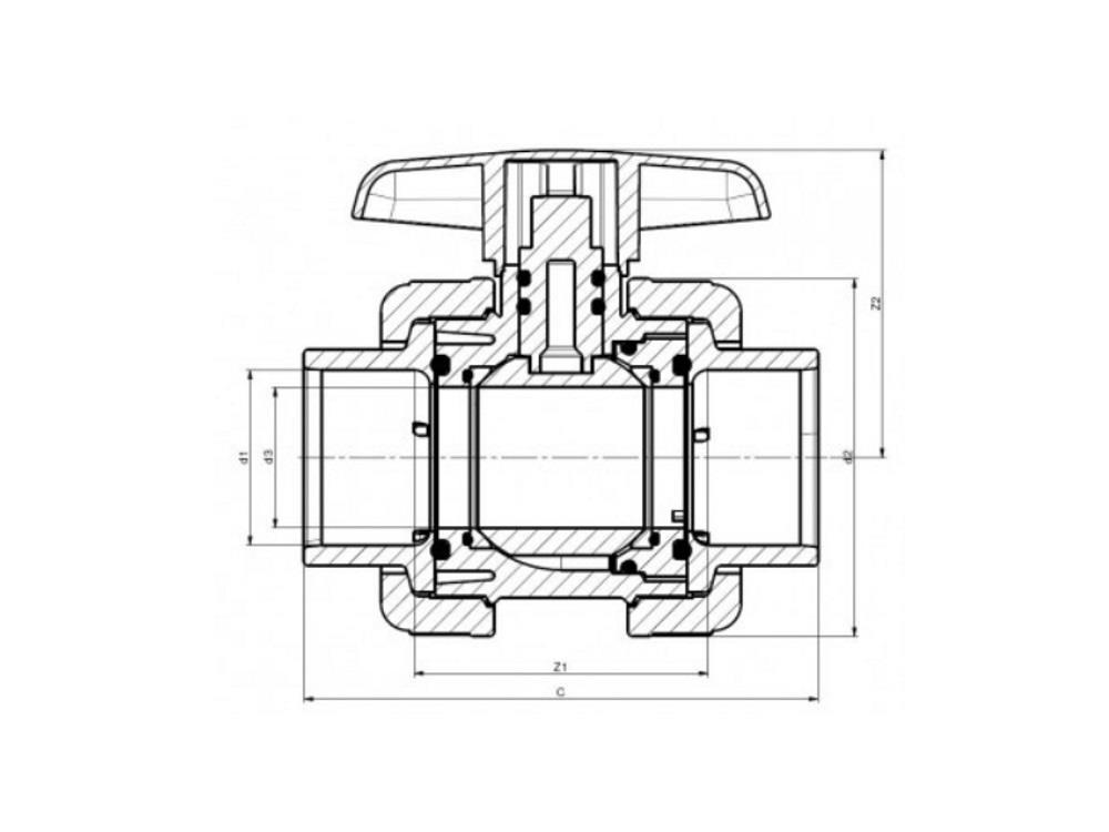 Kogelkraan type: dil 50x50mm viton® dn40 pvc