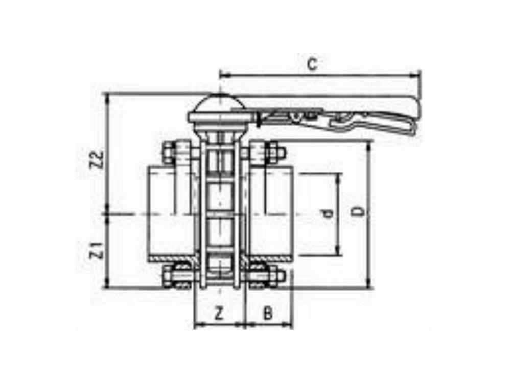 Vlinderklep dn 125 + kit 140 x 140mm