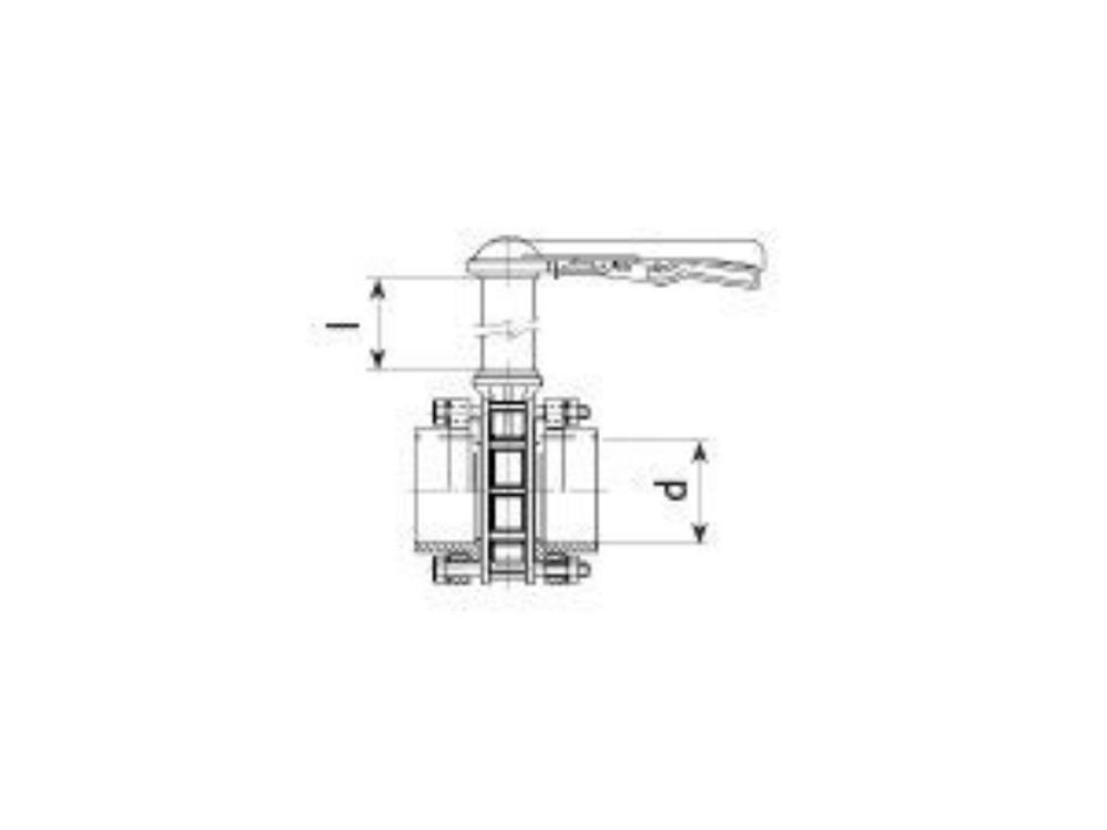 Vlinderklep dn125 + kit 125 x 125mm + 1500mm
