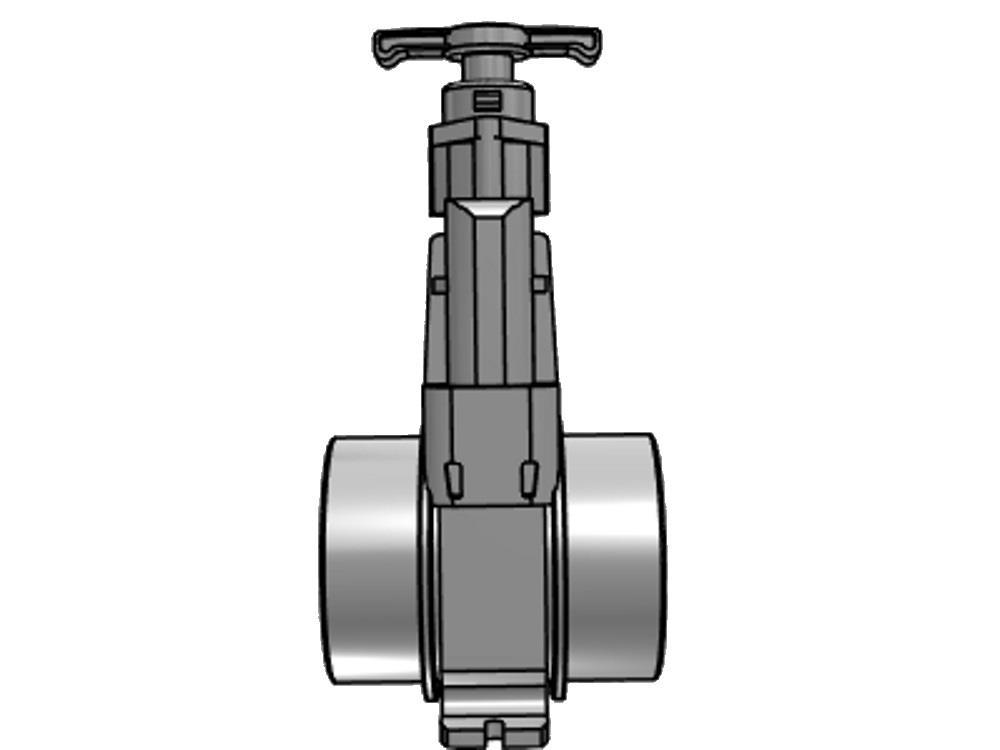 Schuifafsluiter dil 160 (rvs) verloop 500 mm