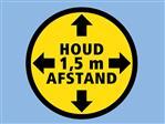 Sticker rond zwart/geel: Houd 1.5m afstand (20 stuks)